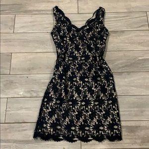 Ann Taylor lace navy blue cocktail dress